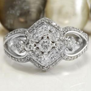 Корейские геометрические квадратные женщины кольца Inlaid Zircon модный шарм полые свадебные обручальные кольца обещают ювелирные изделия подарки Bague Femme