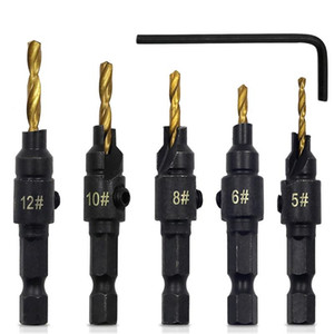 5pcs Hss Woodworking Ti Countersink Drill Bit Set Wood Countersinks Screw Size #6 #8 #10 #12 #14