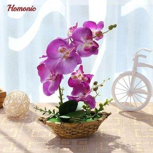 Borboleta Artificial Orchid Plantas em vasos de flor de seda decorativa em vasos Phalaenopsis Orchid Bonsai para a decoração Home casamento