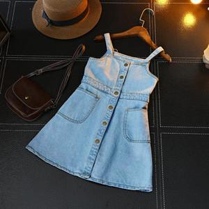 2018 novo item de verão menina um pedaço jeans dress suspender denim dress mx190725