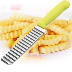 أحدث الفولاذ المقاوم للصدأ سكين موجة البطاطس قطع المموج سكين بطاطا شيبس كتر القطاعة الطبخ أدوات VT0336