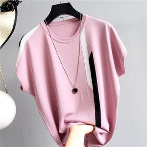 shintimes sottile lavorato a maglia in cotone T Camicia a righe a maniche pipistrello maglietta di estate delle donne 2020 supera la maglietta femminile casuale Tee Shirt Femme
