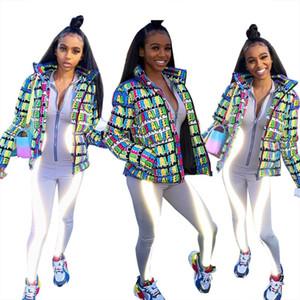 Moda bolha soprador Jacket Womens Down Jacket Carta Grosso Quente Brasão Feminino solto Curto manga comprida Inverno Pano Para wommen