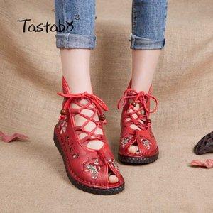 Tastabo ocasional de las mujeres hechas a mano del tobillo botas planas mujeres del cuero genuino zapatos transpirables pies cómodo patrón a cielo abierto