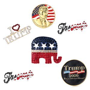 Style 5 Trump Broche Pins Lettre strass Brillante Glitter Femmes Mode Brooches Crystal Heart Party Pins cadeau