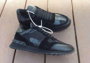 Valentino shoes Gerçek Deri Erkek Kadın Flats eğitmenler sneaker Yeni ayakkabılar Rockrunner Kamuflaj Noir kumaş Nappa