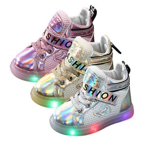 Boy Girl Fashion LED Shoes Lights Soft Casual Sports Warm Children Lace-Up Walking Toddler Shoes New