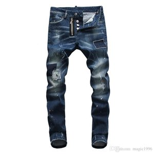 19 New fashion men's hollow jeans embroidered bone fashion hip-hop fashion jeans tights high quality jeans wx003