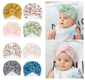 8 stilleri sevimli bebek yürüyor Donut düğüm Hint türban kap çocuklar bantlar Caps bebek çiçek şapka katı yumuşak Pamuk Hairband şapka
