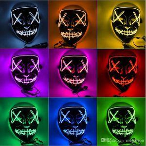 LED Halloween Glowing Masque EL fil Illuminez Masques d'horreur Masques Parti Hallowmas Neon Maska Cosplay Hallowmas Décoration