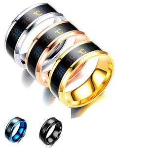 Sıcaklık Monitör Yüzük, Dijital Termometre Vücut Sıcaklık Sensörü Akıllı Halkalar Düğün Çift Aşıklar Yüzük, Uygun Boyut Titanyum Çelik