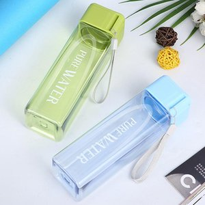 Outdoor Portable Water Mug 17oz Sport Water Bottle Fashion Square Transparent Tumbler Large Capacity Water Bottles Plastic Cup BC FY4134