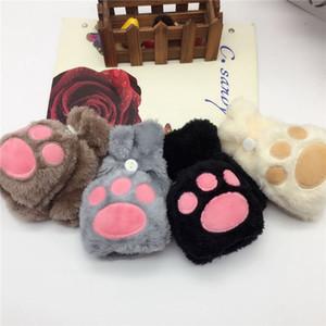 Медведь Кло Раскладных перчатки Женщины Девушка зима Плюшевый Cute Cat Claw Fingerless Convertible варежка Мягких девушки перчатка 2pcs / комплект OOA7494