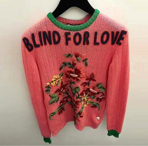 Moda High-End Dark Pink cieco For Love Pullover Donna Marca Stesse perline stile Cristalli Maglioni stile maglioni a maglia Donne 110132