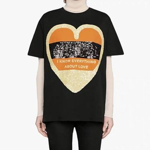 TOP 20SS Sequin Heart Embroidery Tee Casual Summer T-Shirt High Street Short Sleeves Fashion Men Women Tee Crew Neck Breathable HFHLTX104