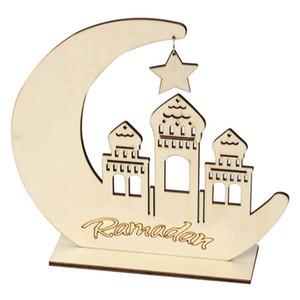 Ramadan en bois Décor Islamic Musulman Eid Mubarak Home Ornement Ramadan Diy Hollow Moon Star Star Décoration DHB667