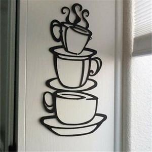Sıcak Satış Çıkarılabilir Üç Coffee House Cup Vinil Duvar Sanatı Metal Mug Duvar Sticker Çıkartmaları DIY Mutfak Dekor Drop Shipping 21x38cm