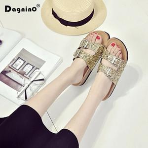 Dagnino Yaz Sequins Plaj Mantar Terlik Sandalet 35-44 Casual Çift Toka Kadınlar Kaymaz Ayaklı Flats Parlak Ayakkabı Floplar
