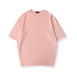 Hot Pink Plain T shirt 2020 Men Womens Oversized T shirt 100% Cotton Short Sleeve Hip Hop Shoulder Drop T-shirt Nxcaps Wholesale