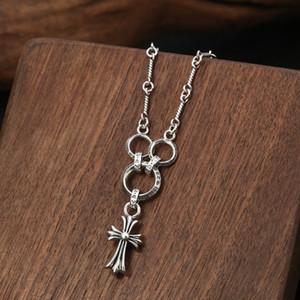 925 colar de pingente de prata esterlina moda jóias 3 círculos com cruzes pingente hand-made designer colares para mulheres dos homens