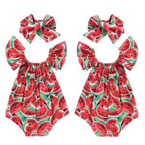 2PCS Forma infantil do bebê do miúdo da menina do algodão Fry Manga Melancia Verão Romper Jumpsuit Playsuit sets + roupas de verão com alça