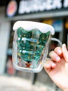 새로운 스타벅스의 성급 원하는 크리스마스 트리를 투명한 유리 컵 3D 이중 절연 커피 컵은 첨부된 컵 dooor-자동차잔 250ml