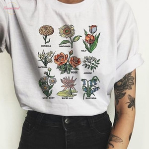 Harajuku Vintage Wildflower Graphic Tshirt Women Floral Kawaii Cartoon Vegan Floral Print Tee Shirt Femme Fashion Grunge Aesthetic Tops