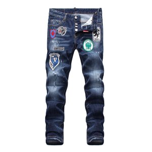 Hot new Sale Mid-waistline Pants Mens Jeans Mens Designer Pants Fashion embroidery New Style Casual Skinny Hip Hop Mens Jeans Distressed