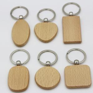 DIY 빈 나무 열쇠 고리 사각형 심장 라운드 타원 기하학적 조각 열쇠 고리 자연 나무 열쇠 고리