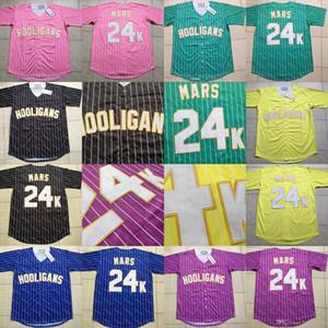 Bruno Mars 24K Hooligans Camiseta de béisbol Jerseys de béisbol Película Blanco rojo Hombres Mujeres Jóvenes Todos los jerseys de béisbol cosidos Envío gratis