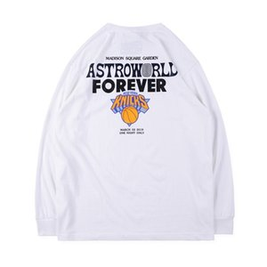 Designer Mens Long Sleeve Tshirt mondo Knicks Stampa casuale Adolescente Via Hiphop Primavera Autunno Tshirt