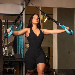 2020 Summer New Fitness Clothing Women One-pieces Sports Suit Set Workout Gym Fitness Jumpsuit Short Sexy Yoga Set Bandage Gym Bodysuit