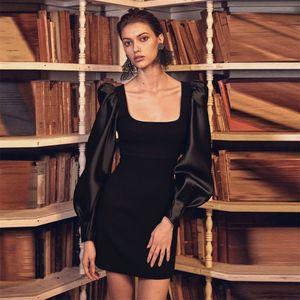 Black Long Sleeve Party Bandage Dress Women Celebrity Evening Club Mini Dresses Autumn Winter Square Collar Sheath Vestidos