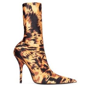 Free shipping 2019 Women half booties Boots Sexy Fashion Sock Boots stiletto Heels Sexy pillage Pointed toes party 34-43 Stretch print 01