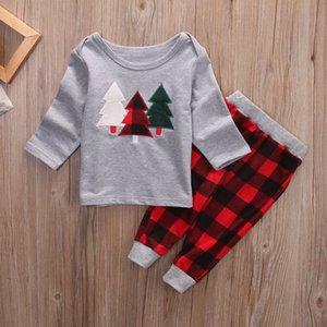 Arbre de Noël Set bébé Enfants Imprimer Bébé Filles Garçons Fête de Noël Chemise d'impression Hauts Pantalons Plaid Tenues Mode manches longues