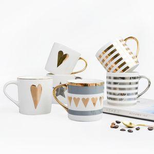 Feine Porzellan-Becher für Kaffee-Tee-Griff von Real Gold Platin Valentine Hochzeit Geschenke 6 Muster-Herz Stern Stripes Liebe Painted