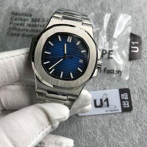 U1 factory Mens Watch Nautilus PP Sky moon Automático Mecánico de acero inoxidable Transparente Volver Azul Dial Hombres Relojes Reloj de pulsera de buceo