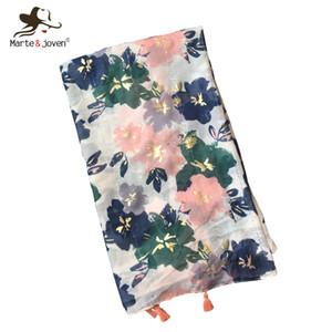 MarteJoven Mode Bronzing GreenPink Fleur Écharpe pour les Femmes De Luxe Printemps Doux Mince Hijab Châles Dames Chaud Polyester Wraps