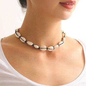 Böhmische Halsketten Shell perlen natürliches Shell-Wachs-Seil-Hand-woven Kurzschlussclavicle Kette Luxuxentwerfer Schmuck Damen Halskette