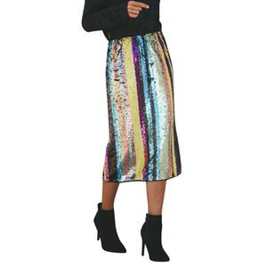 Новая мода юбка женщины сексуальные полосатые пэчворк блестками сплит подол ну вечеринку высокая талия юбка бесплатная доставка подарок прямая поставка