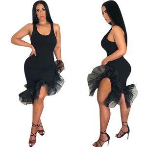 Mulheres Sexy Colete Ruffles Mini Saia Mid-bezerro Comprimento Irregular Organza Fishtail Hem Mangas Strap Vestidos de Dança Latina Vestidos de Festa C425