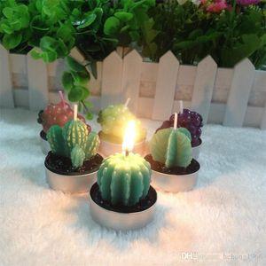 Forniture Nuovo creativo Cactus Forma candela profumata Decorazioni di Natale Partito Piante succulente senza fiamma della candela Pianta in vaso 1 3yh