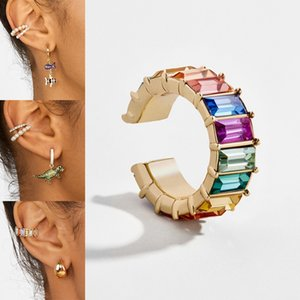 2019 New Fashion Rainbow Pear Cuff Bohemia Stackable C Shaped No Pierce Small Round Earrings Clips For Women Wedding Jewelry