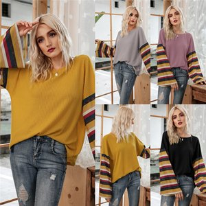 2020 Autumn Winter Long Flare Sleeve Womens Stripes Tshirt Casual Loose Waffle Knitted Tops Blouse Tshirt