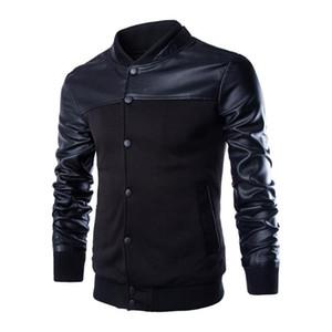 품질 PU 가죽 패치 워크 스탠드 남자 코트 겉옷 캐주얼 슬림 피트 망 남자 폭탄 재킷 단추 윈드 파커 야구 재킷