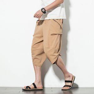 Sarkık Pamuk Erkekler Harem Pantolon 2020 Kore Stili Vintage Katı Büyük Geniş Bacak Pantolon Pantalone Erkekler Kadınlar Hip Hop Artı Boyutu Cepler