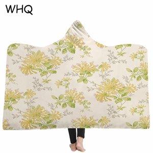 WHQ Fleurs modernes Imprimé à capuchon Couverture Hiver chaud Throw doux molleton Tissu épais Joyous Cobija Cobertor Couverture à capuchon