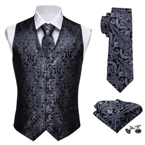 Designer Mens Classic Black Paisley Jacquard Folral Silk Waistcoat Vests Handkerchief Tie Vest Suit Pocket Square Set Barry.Wang CX200623