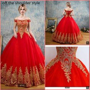 Красные платья Quinceanera Тюль с золотыми аппликациями Кружева Sweet 16 Платья бальные платья сексуальные платья Quinceanrea Vestidos De 15 Anos Debutante