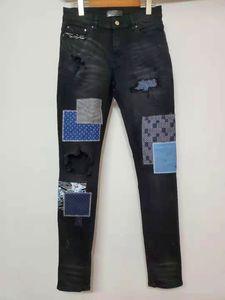 Nueva llegada Am diseñador del Mens Jeans Moda Calle dril de algodón elástico Patchwork Jeans antiguos alta calidad empalmado rasgado Tamaño del motorista de las bragas de EE.UU.